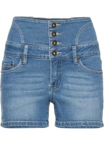 Джинсовые шорты с завышенной линией талии (голубой)