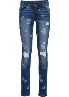 Джинсы с цветочным принтом (синий с узором) Bonprix
