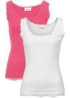 Трикотажная майка-лапша (2 штуки в упаковке) (светлый ярко-розовый/белый) Bonprix