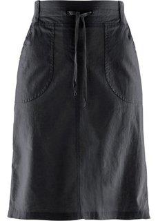 Льняная юбка на поясе в резинку (черный) Bonprix