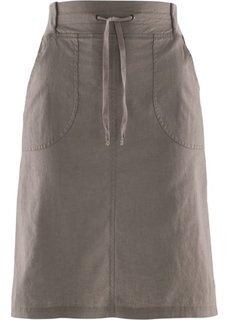 Льняная юбка на поясе в резинку (бурый) Bonprix