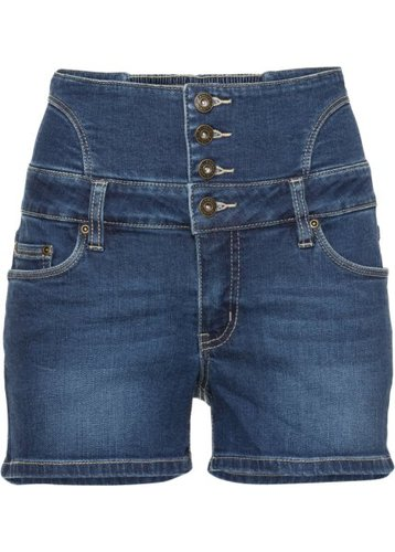 Джинсовые шорты с завышенной линией талии (синий «потертый»)
