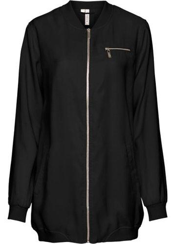 Длинная куртка-бомбер (черный)