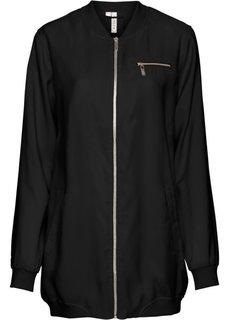 Длинная куртка-бомбер (черный) Bonprix