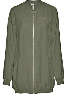 Длинная куртка-бомбер (оливковый) Bonprix