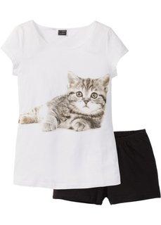 Пижама (2 изделия) (с рисунком кошечки) Bonprix