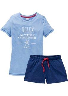 Пижама с шортами (синий с рисунком) Bonprix