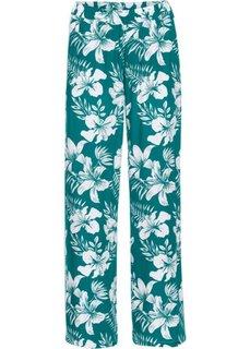 Широкие брюки (темно-изумрудный/белый с принтом) Bonprix