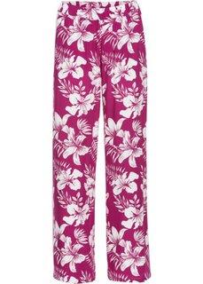 Широкие брюки (нежная фуксия/белый с принтом) Bonprix