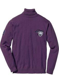 Пуловер Regular Fit с высоким воротом (виноградный) Bonprix