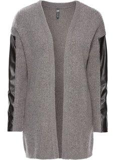 Кардиган в стиле оверсайз (серый меланж/черный) Bonprix