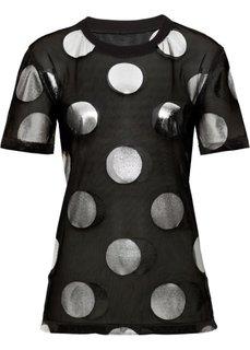 Прозрачная футболка (черный/белый в горошек) Bonprix