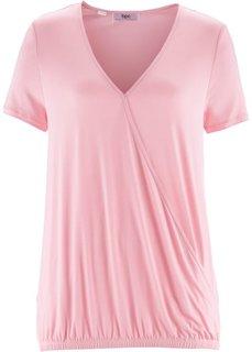 Футболка с эффектом запаха и коротким рукавом (розовый) Bonprix