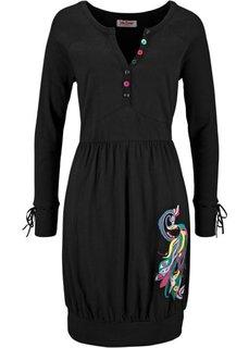 Трикотажное платье с аппликацией и длинным рукавом (черный) Bonprix