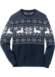 Пуловер Regular Fit с норвежским узором (темно-синий) Bonprix