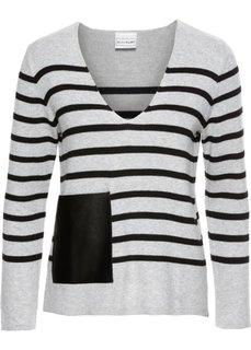 Полосатый пуловер с карманом из искусственной кожи (светло-серый меланж/черный в полоску) Bonprix