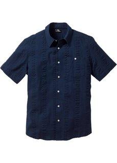 Рубашка из ткани сирсакер, стандартного прямого покроя regular fit (темно-синий) Bonprix