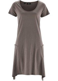 Платье А-силуэта из трикотажа фламе (светло-коричневый) Bonprix
