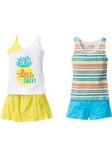 2 топа + шорты + юбка (4 изд.) (белый/цветной/лимонный) Bonprix