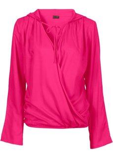 Блузка с капюшоном (горячий ярко-розовый) Bonprix