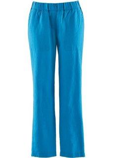 Льняные брюки на резинке длины 7/8 (капри-синий) Bonprix