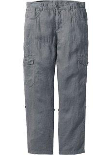 Льяные брюки-карго Regular Fit с хлястиками, cредний рост (N) (серый) Bonprix