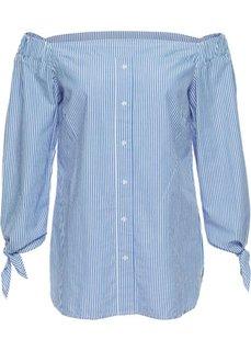Блузка в стиле Кармен (белый/голубой в полоску) Bonprix