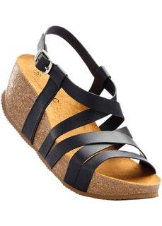 Кожаные сандалии (черный металлик) Bonprix