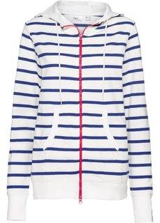 Легкая трикотажная куртка с принтом сзади и длинным рукавом (синий в полоску) Bonprix