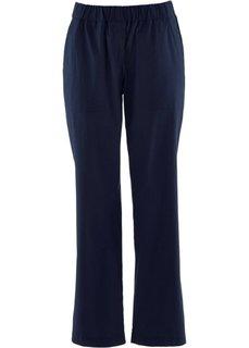 Льняные брюки на резинке длины 7/8 (темно-синий) Bonprix