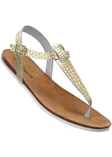 Кожаные сандалии (золотистый) Bonprix