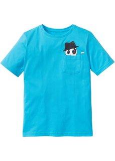 Футболка с карманом на груди (карибский синий) Bonprix