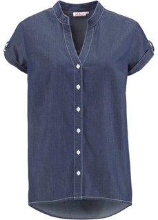 Джинсовая рубашка с коротким рукавом (темно-синий) Bonprix