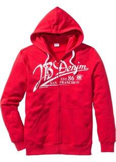 Трикотажная куртка Regular Fit с капюшоном (красный) Bonprix