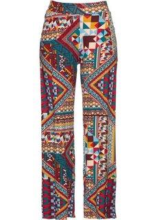 Трикотажные брюки-палаццо (темно-бордовый/бирюзовый с узором) Bonprix