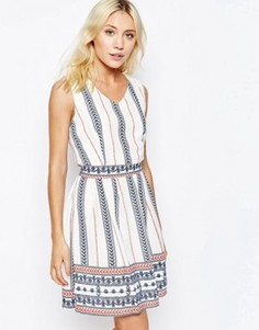 Платье с принтом и поясом Iska - Кремовый