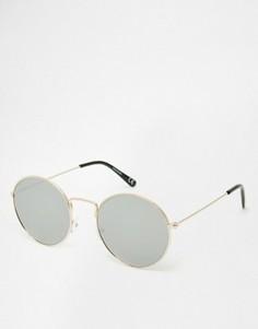 Круглые солнцезащитные очки в изящной металлической оправе с плоскими стеклами ASOS - Золотой
