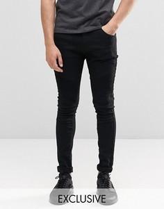 Черные супероблегающие байкерские джинсы Liquor & Poker - Черный