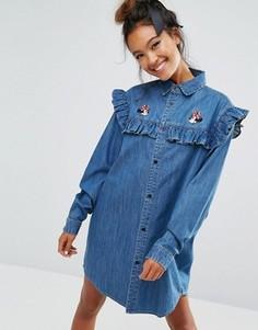 Джинсовое платье-рубашка с Минни Маус Lazy Oaf X Disney - Синий