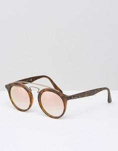 Круглые солнцезащитные очки в черепаховой оправе Ray-Ban Gatsby 0RB4256 - Коричневый