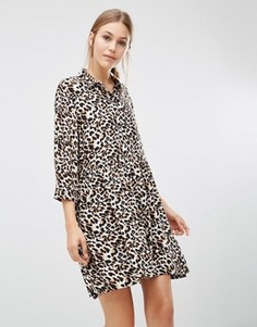 Цельнокройное платье с рукавами 3/4 и леопардовым принтом Minimum - Золотой