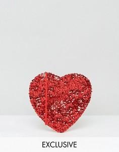 Сумка через плечо в форме сердца Reclaimed Vintage - Красный