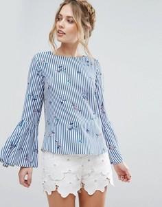 Рубашка в полоску с цветочным принтом и рукавами-колокол Closet London - Мульти