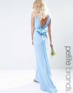 Свадебное платье макси с сатиновым бантом сзади TFNC Petite - Синий