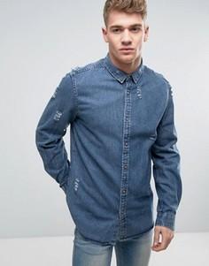 Джинсовая рубашка с рваной отделкой Brave Soul - Синий