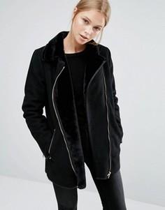 Удлиненная куртка с воротником борг Vila - Черный