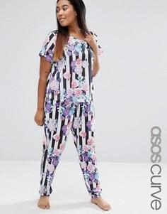 Пижамная футболка и штаны в полоску с цветочным принтом ASOS CURVE - Мульти