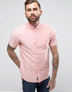 Оксфордская саржевая рубашка с короткими рукавами Tokyo Laundry - Розовый