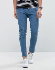 Голубые джинсы скинни с необработанными краями Only & Sons - Синий