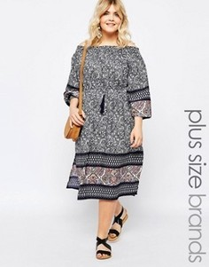 Платье миди с открытыми плечами и боковыми разрезами Diya Plus - Мульти
